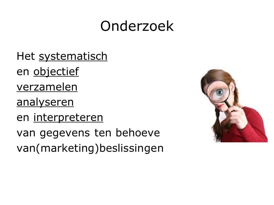 Onderzoek Het systematisch en objectief verzamelen analyseren en interpreteren van gegevens ten behoeve van(marketing)beslissingen