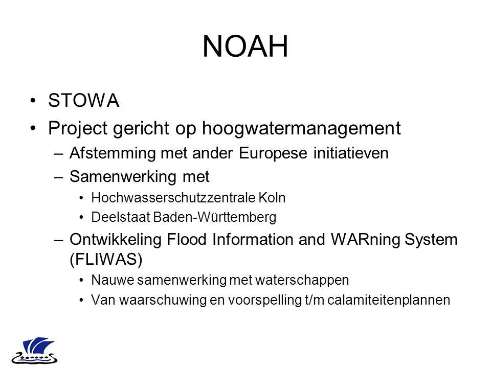 NOAH STOWA Project gericht op hoogwatermanagement –Afstemming met ander Europese initiatieven –Samenwerking met Hochwasserschutzzentrale Koln Deelstaa