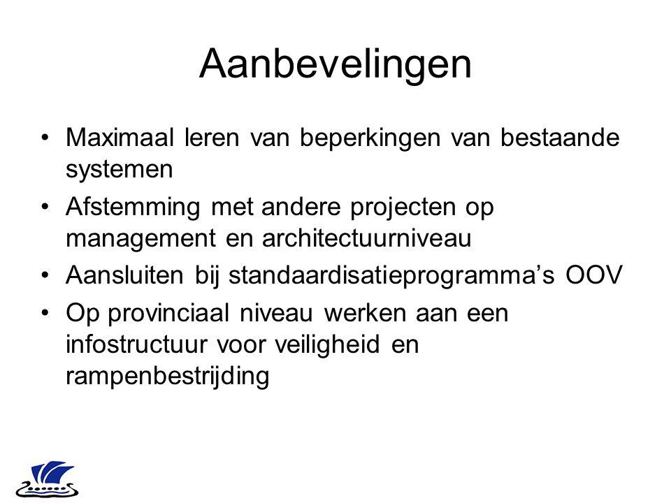 Aanbevelingen Maximaal leren van beperkingen van bestaande systemen Afstemming met andere projecten op management en architectuurniveau Aansluiten bij