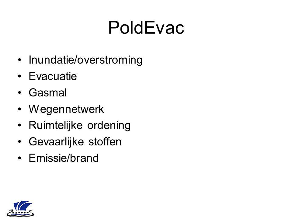 PoldEvac Inundatie/overstroming Evacuatie Gasmal Wegennetwerk Ruimtelijke ordening Gevaarlijke stoffen Emissie/brand