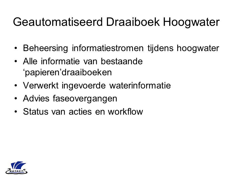 Geautomatiseerd Draaiboek Hoogwater Beheersing informatiestromen tijdens hoogwater Alle informatie van bestaande 'papieren'draaiboeken Verwerkt ingevo