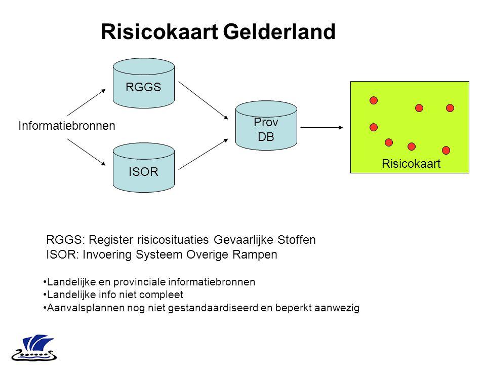 RGGS ISOR Informatiebronnen Prov DB Risicokaart Risicokaart Gelderland RGGS: Register risicosituaties Gevaarlijke Stoffen ISOR: Invoering Systeem Over