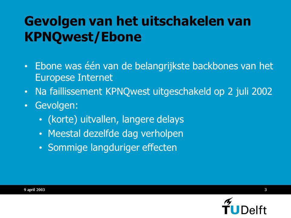 9 april 20033 Gevolgen van het uitschakelen van KPNQwest/Ebone Ebone was één van de belangrijkste backbones van het Europese Internet Na faillissement KPNQwest uitgeschakeld op 2 juli 2002 Gevolgen: (korte) uitvallen, langere delays Meestal dezelfde dag verholpen Sommige langduriger effecten