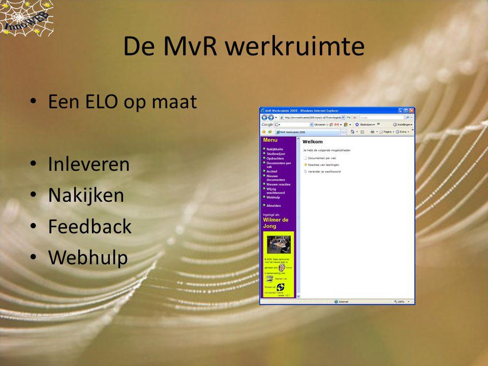 De MvR werkruimte Een ELO op maat Inleveren Nakijken Feedback Webhulp