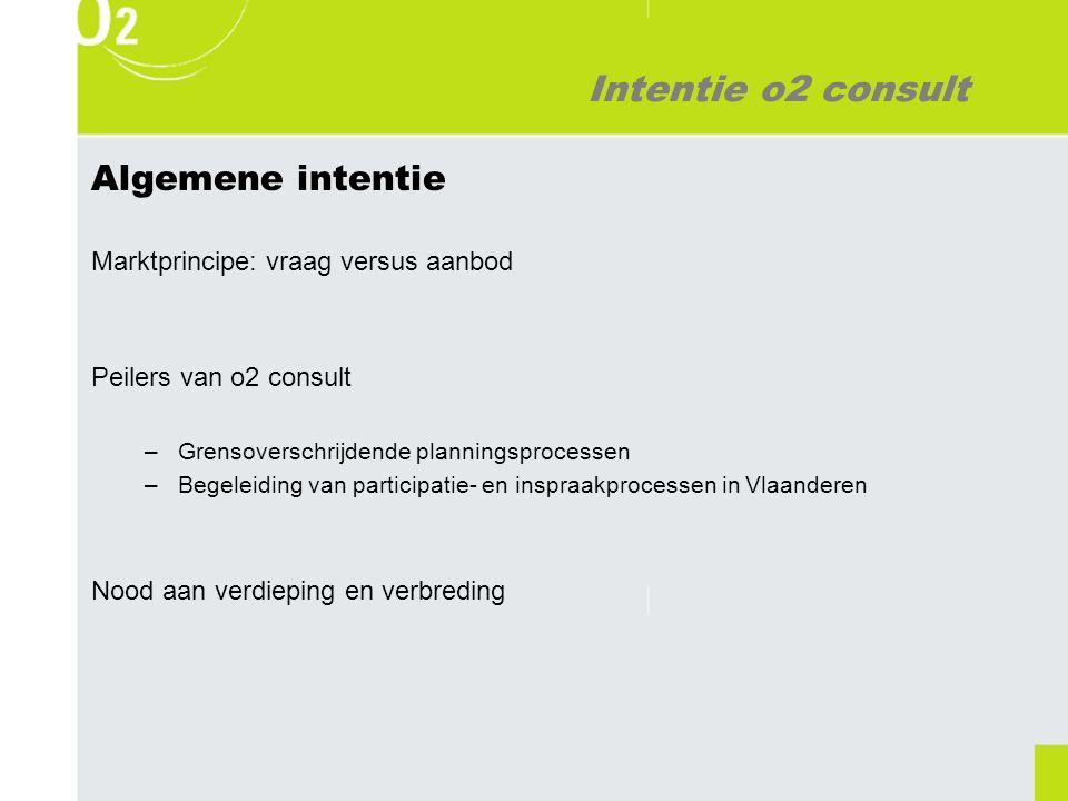 Intentie o2 consult Algemene intentie Marktprincipe: vraag versus aanbod Peilers van o2 consult –Grensoverschrijdende planningsprocessen –Begeleiding van participatie- en inspraakprocessen in Vlaanderen Nood aan verdieping en verbreding