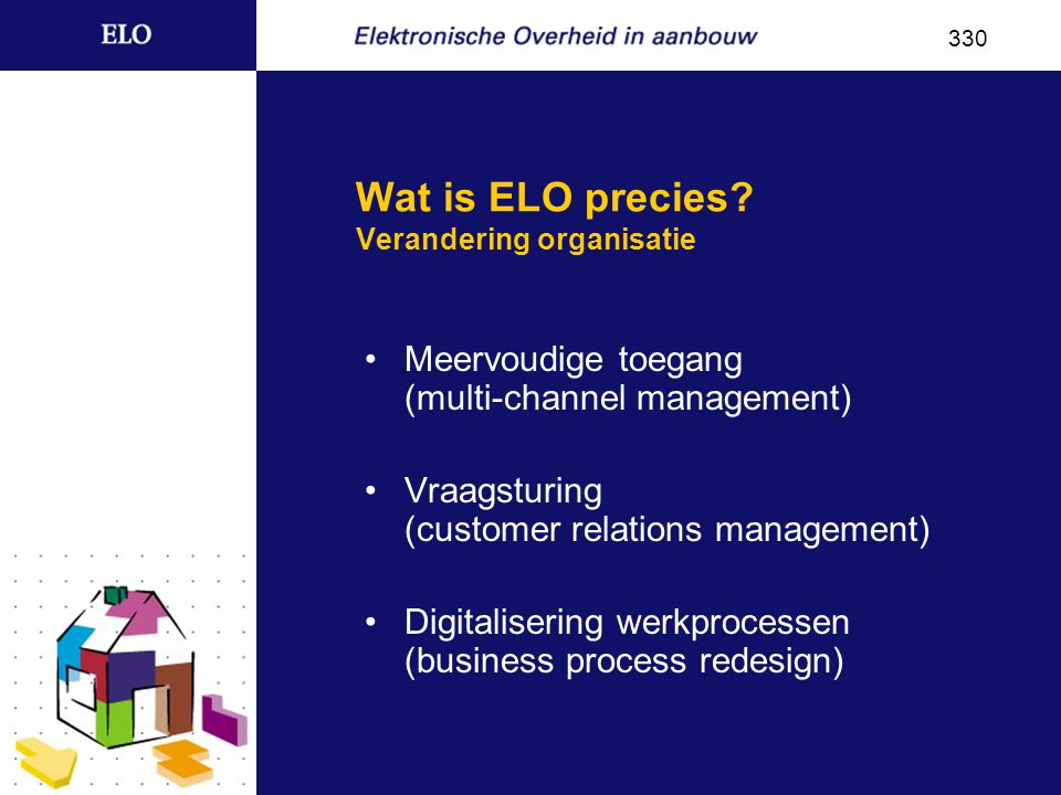 Wat is ELO precies? Verandering organisatie Meervoudige toegang (multi-channel management) Vraagsturing (customer relations management) Digitalisering