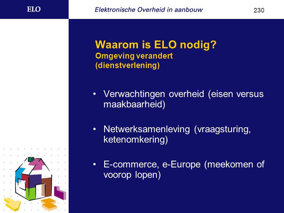 Waarom is ELO nodig? De overheid is elektronisch, of de overheid is niet 240