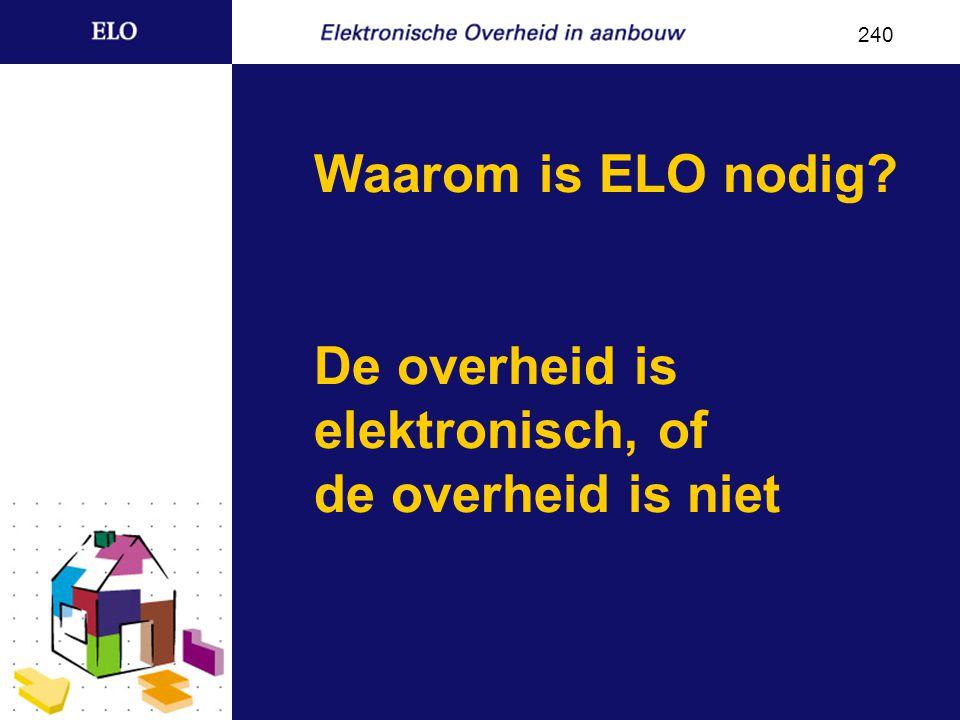 Waarom is ELO nodig De overheid is elektronisch, of de overheid is niet 240