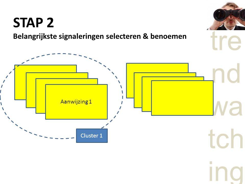 tre nd wa tch ing STAP 2 Belangrijkste signaleringen selecteren & benoemen Aanwijzing 1 Cluster 1