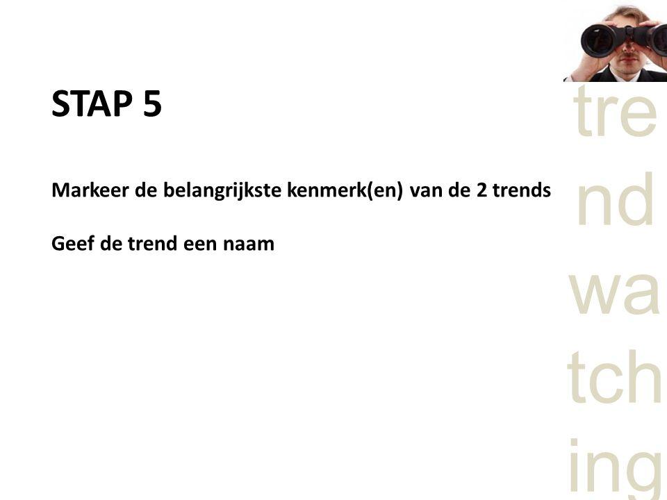 STAP 5 Markeer de belangrijkste kenmerk(en) van de 2 trends Geef de trend een naam