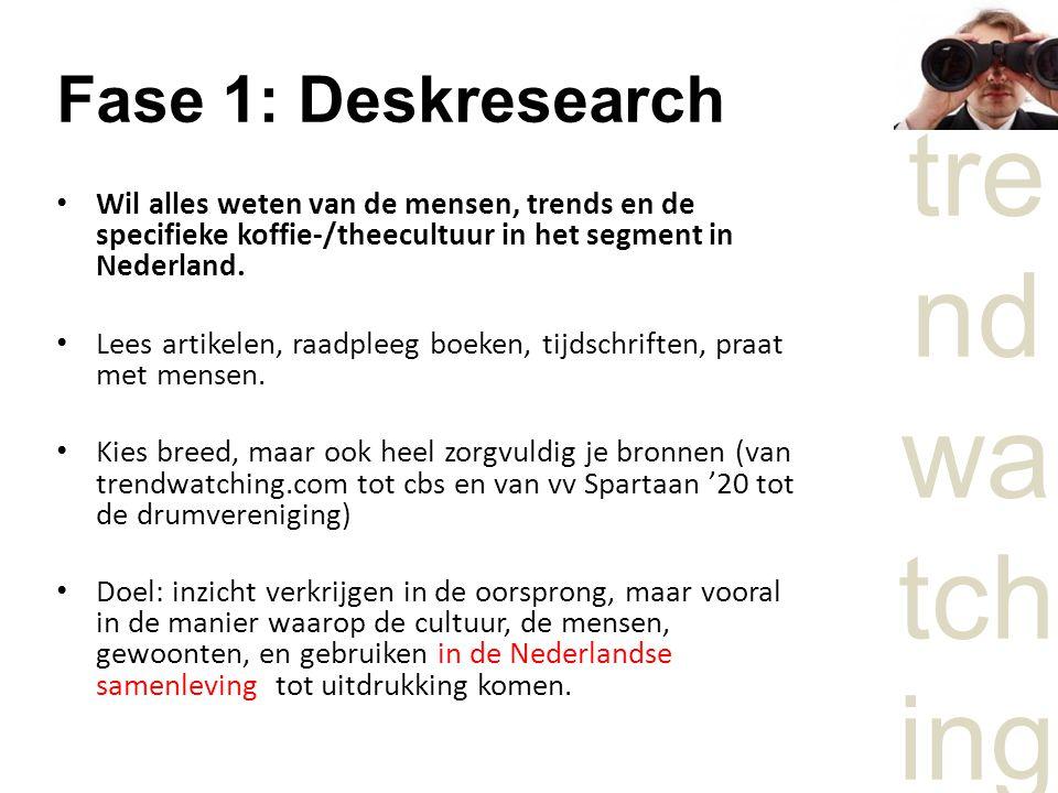tre nd wa tch ing Fase 1: Deskresearch Wil alles weten van de mensen, trends en de specifieke koffie-/theecultuur in het segment in Nederland.