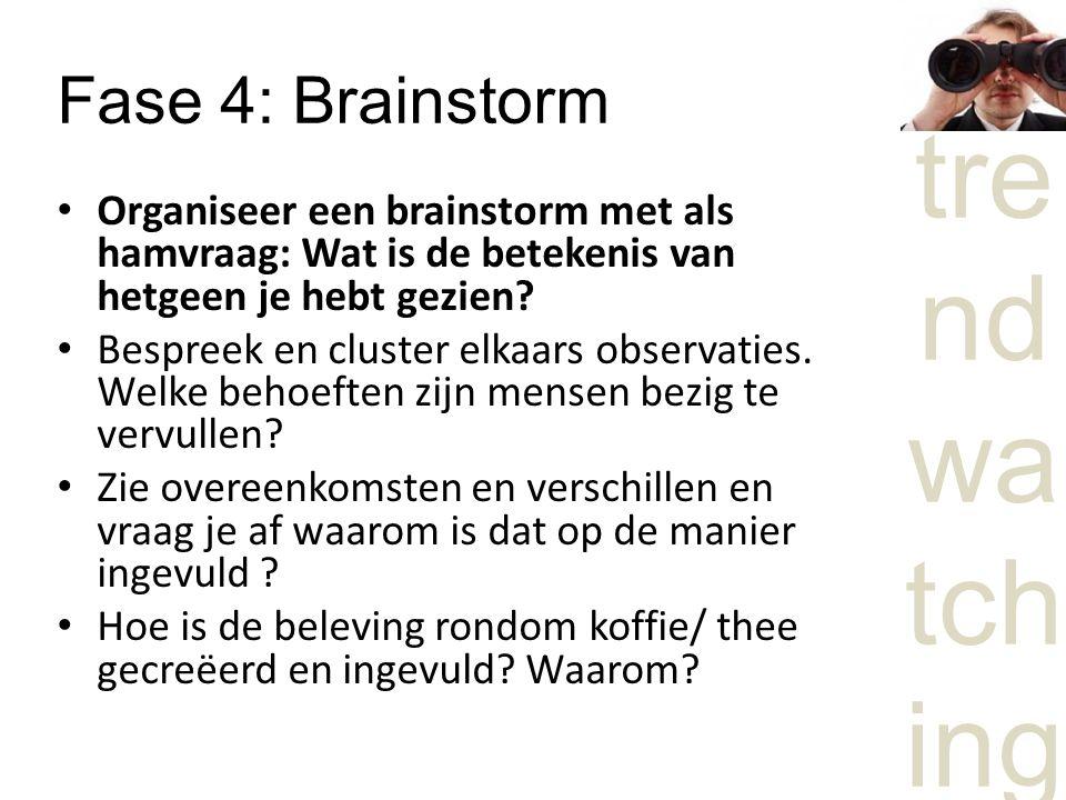 tre nd wa tch ing Fase 4: Brainstorm Organiseer een brainstorm met als hamvraag: Wat is de betekenis van hetgeen je hebt gezien.