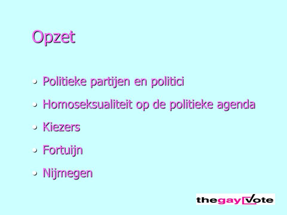 Opzet Politieke partijen en politiciPolitieke partijen en politici Homoseksualiteit op de politieke agendaHomoseksualiteit op de politieke agenda Kiez