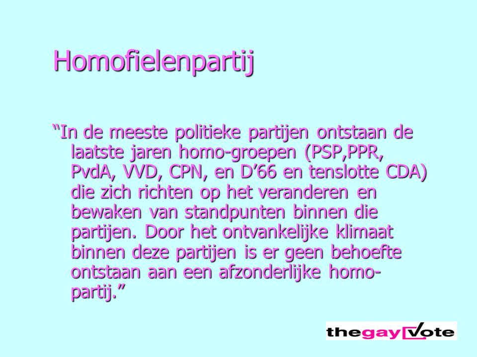 """Homofielenpartij """"In de meeste politieke partijen ontstaan de laatste jaren homo-groepen (PSP,PPR, PvdA, VVD, CPN, en D'66 en tenslotte CDA) die zich"""