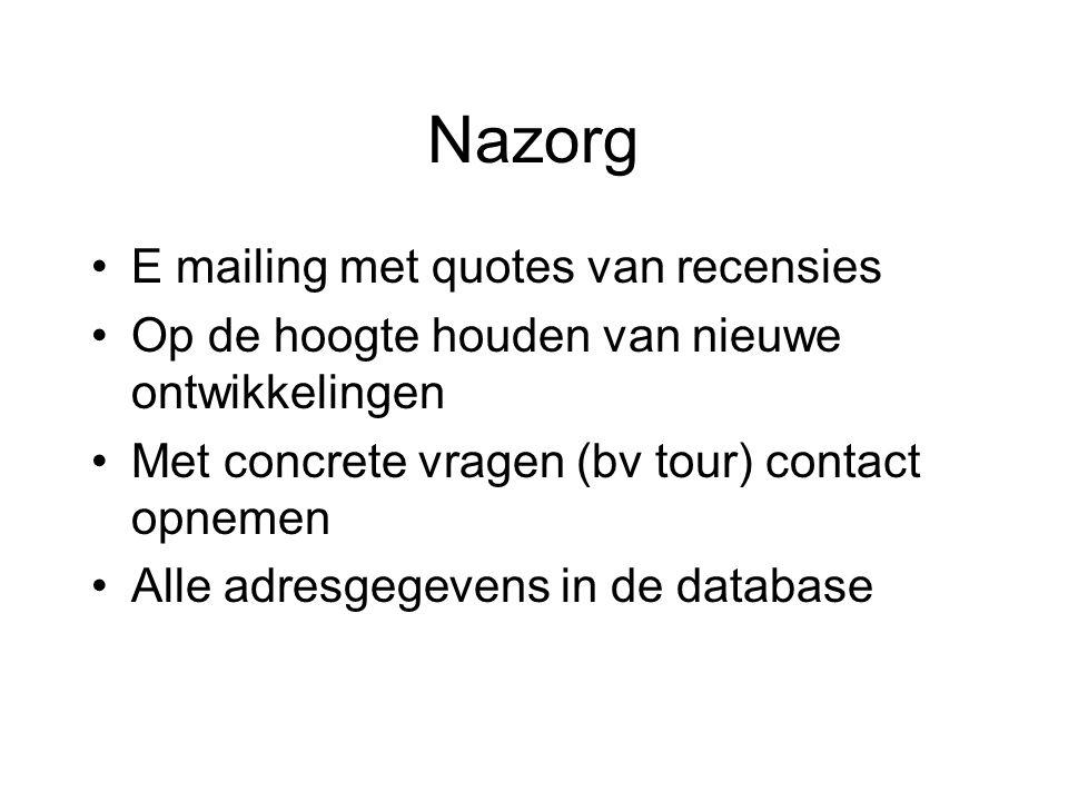 Nazorg E mailing met quotes van recensies Op de hoogte houden van nieuwe ontwikkelingen Met concrete vragen (bv tour) contact opnemen Alle adresgegevens in de database
