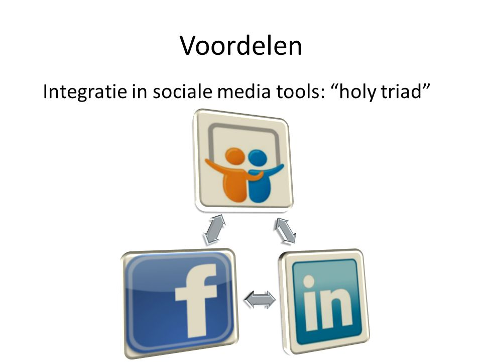 "Voordelen Integratie in sociale media tools: ""holy triad"""
