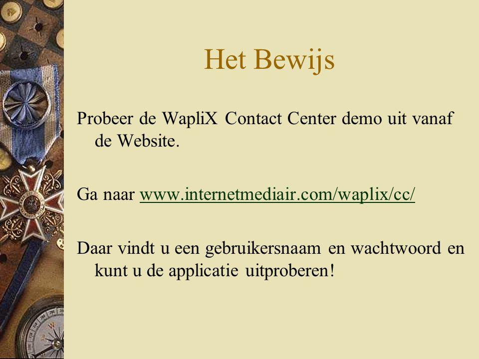 Het Bewijs Probeer de WapliX Contact Center demo uit vanaf de Website.