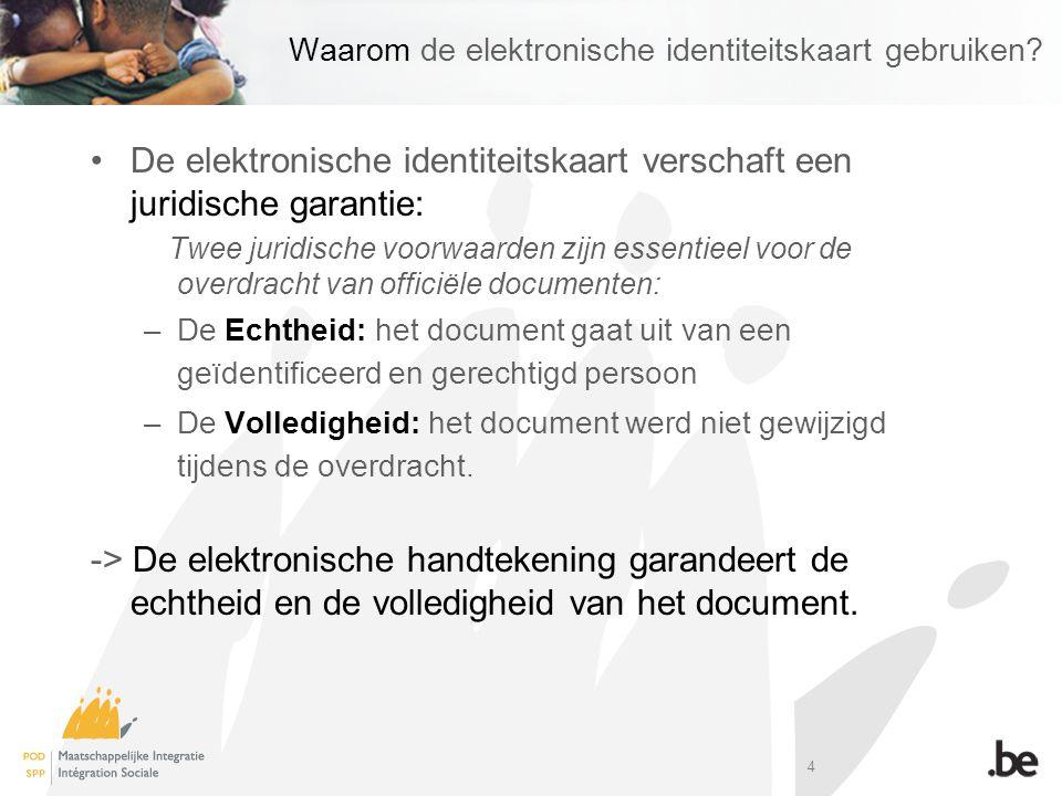 4 Waarom de elektronische identiteitskaart gebruiken.