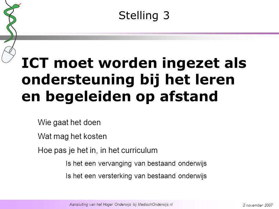 Aansluiting van het Hoger Onderwijs bij MedischOnderwijs.nl 2 november 2007 ICT moet worden ingezet als ondersteuning bij het leren en begeleiden op a