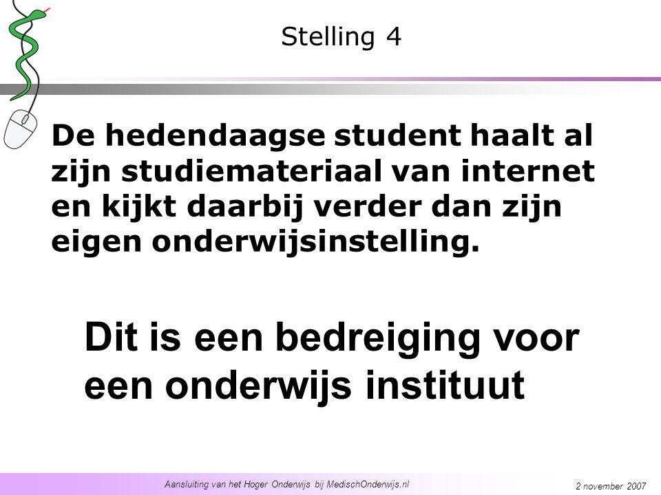 Aansluiting van het Hoger Onderwijs bij MedischOnderwijs.nl 2 november 2007 De hedendaagse student haalt al zijn studiemateriaal van internet en kijkt