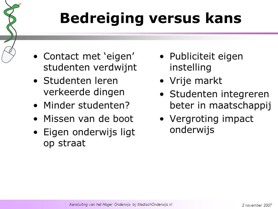 Aansluiting van het Hoger Onderwijs bij MedischOnderwijs.nl 2 november 2007 Bedreiging versus kans Contact met 'eigen' studenten verdwijnt Studenten leren verkeerde dingen Minder studenten.