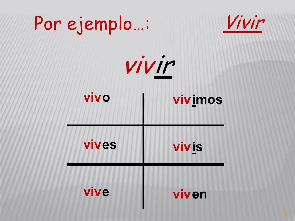 9 Por ejemplo…: Vivir viv ir viv o es e imos ís en