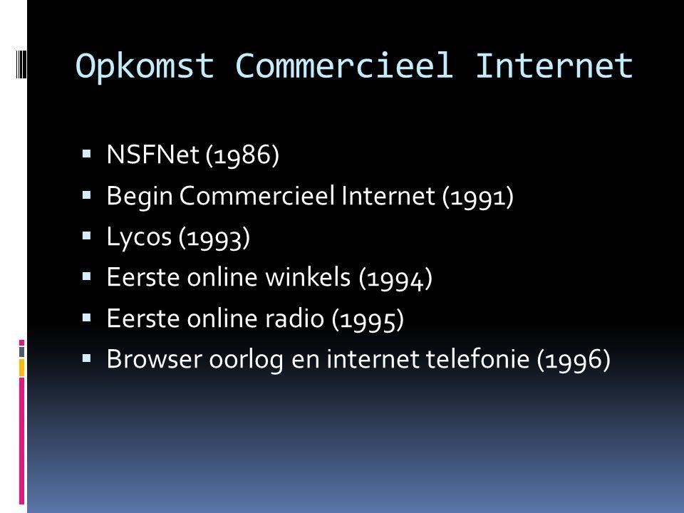 Opkomst Commercieel Internet  NSFNet (1986)  Begin Commercieel Internet (1991)  Lycos (1993)  Eerste online winkels (1994)  Eerste online radio (