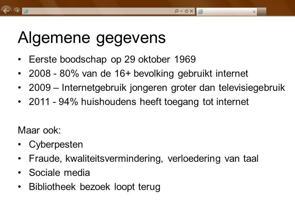 Algemene gegevens Eerste boodschap op 29 oktober 1969 2008 - 80% van de 16+ bevolking gebruikt internet 2009 – Internetgebruik jongeren groter dan tel