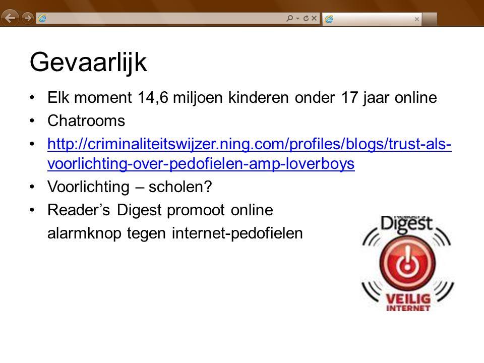 Gevaarlijk Elk moment 14,6 miljoen kinderen onder 17 jaar online Chatrooms http://criminaliteitswijzer.ning.com/profiles/blogs/trust-als- voorlichting