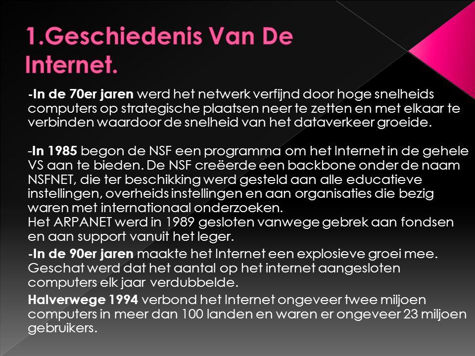 -In de 70er jaren werd het netwerk verfijnd door hoge snelheids computers op strategische plaatsen neer te zetten en met elkaar te verbinden waardoor