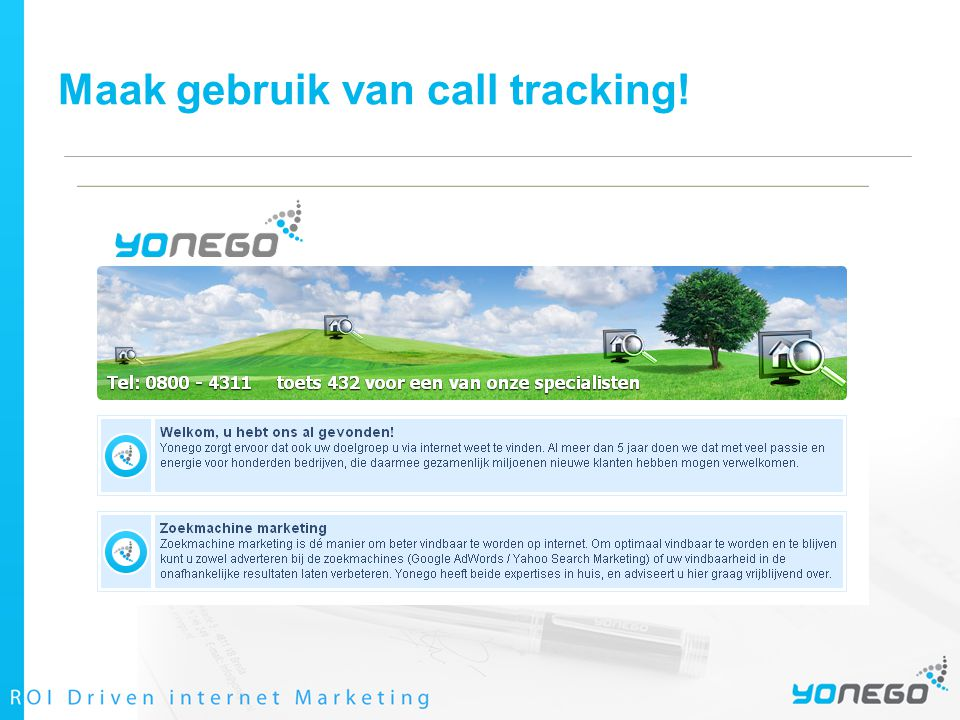 Maak gebruik van call tracking!