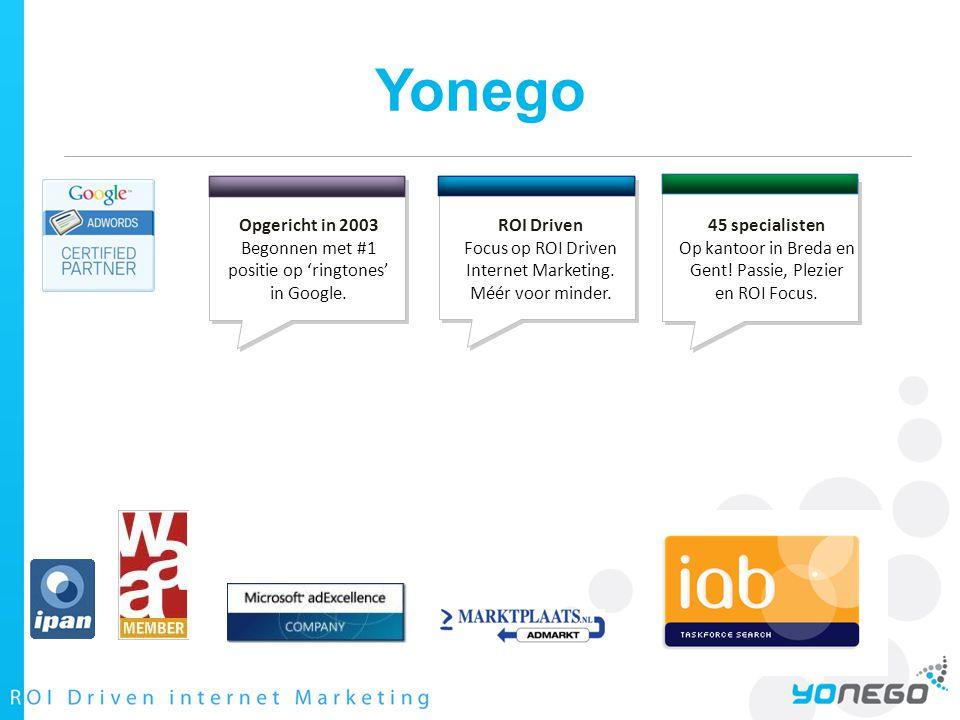 Yonego Opgericht in 2003 Begonnen met #1 positie op 'ringtones' in Google.