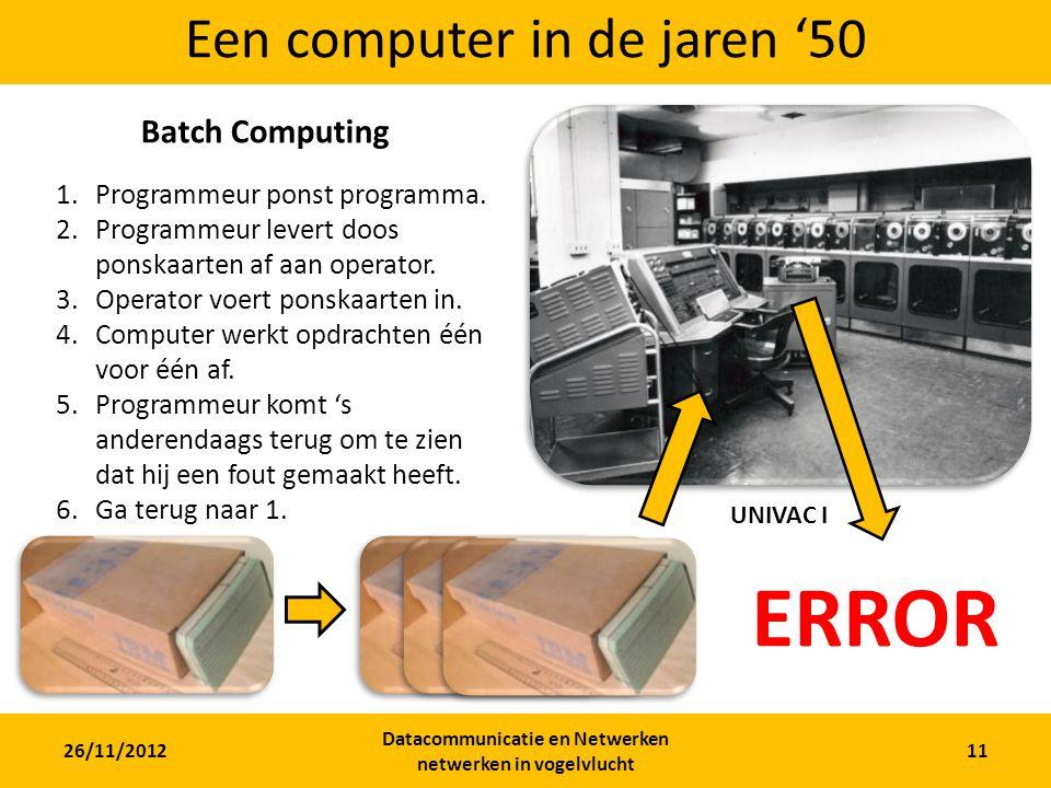 26/11/2012 Datacommunicatie en Netwerken netwerken in vogelvlucht 11 Een computer in de jaren '50 UNIVAC I Batch Computing 1.Programmeur ponst programma.