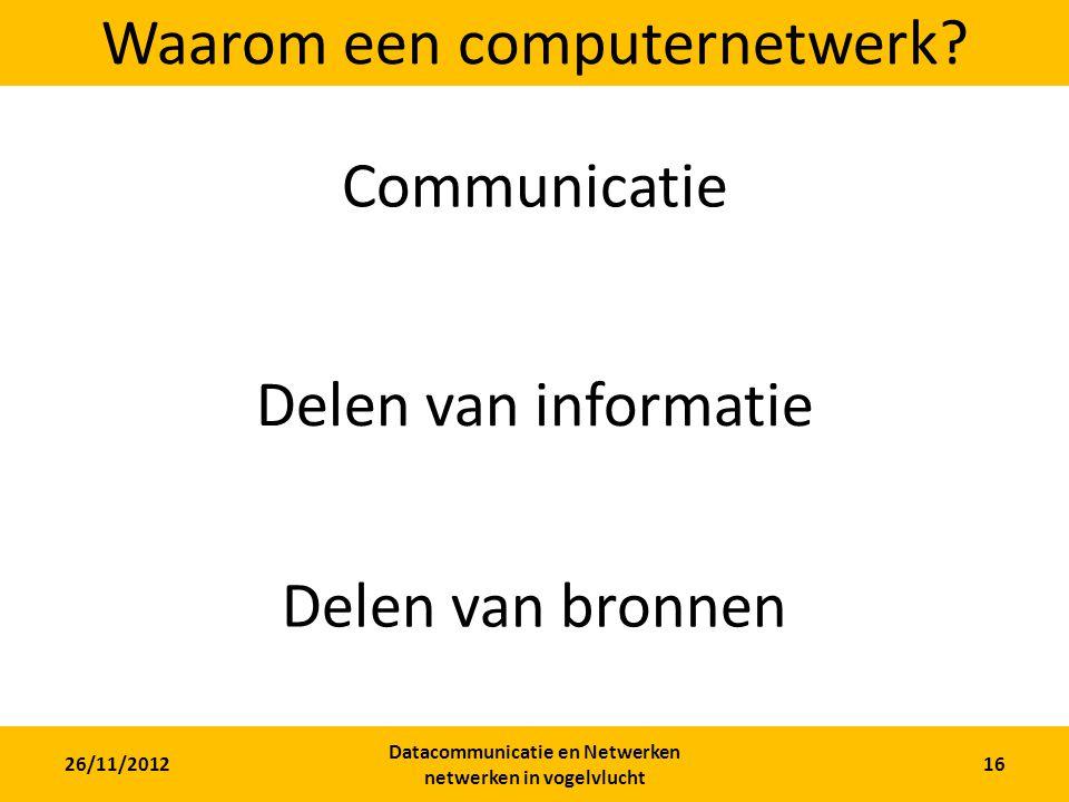 26/11/2012 Datacommunicatie en Netwerken netwerken in vogelvlucht 16 Waarom een computernetwerk.