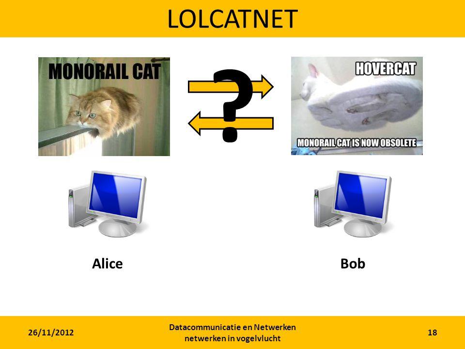 26/11/2012 Datacommunicatie en Netwerken netwerken in vogelvlucht 18 LOLCATNET AliceBob ?
