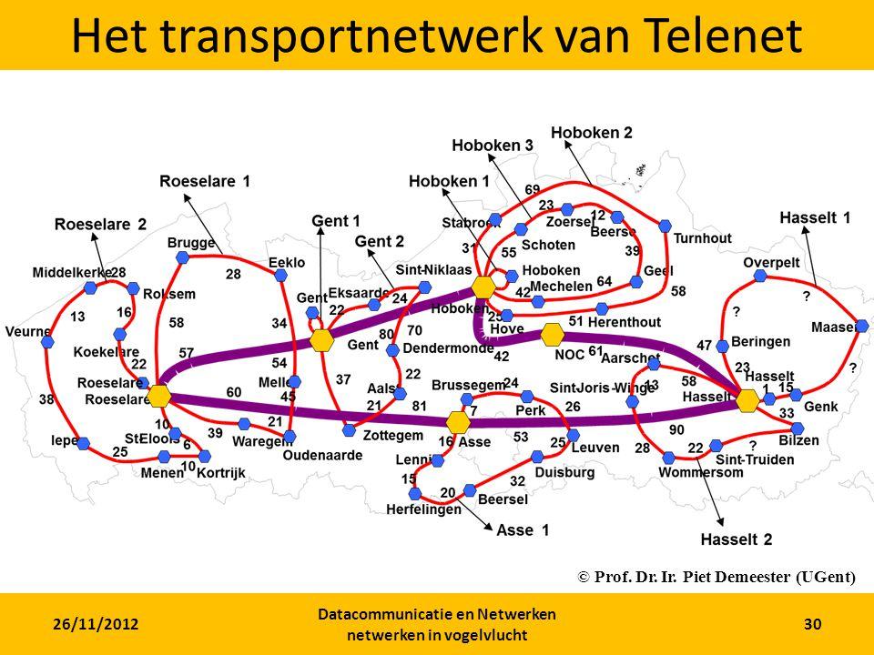 26/11/2012 Datacommunicatie en Netwerken netwerken in vogelvlucht 30 Het transportnetwerk van Telenet © Prof.