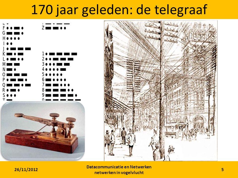 26/11/2012 Datacommunicatie en Netwerken netwerken in vogelvlucht 5 170 jaar geleden: de telegraaf