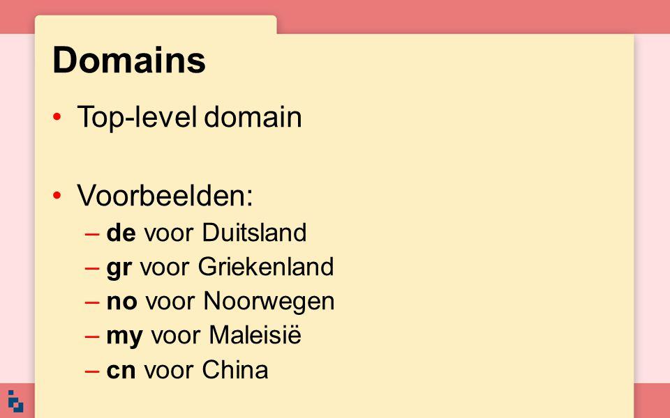 Domains Top-level domain Voorbeelden: –de voor Duitsland –gr voor Griekenland –no voor Noorwegen –my voor Maleisië –cn voor China