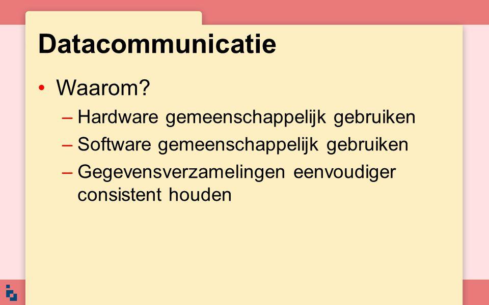 Datacommunicatie Waarom? –Hardware gemeenschappelijk gebruiken –Software gemeenschappelijk gebruiken –Gegevensverzamelingen eenvoudiger consistent hou