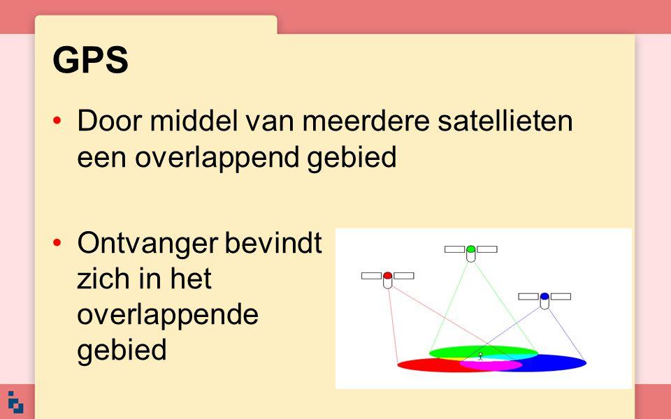 GPS Door middel van meerdere satellieten een overlappend gebied Ontvanger bevindt zich in het overlappende gebied