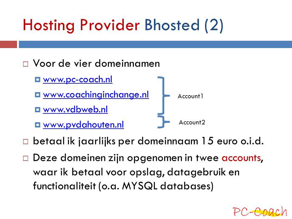 Hosting Provider Bhosted (2)  Voor de vier domeinnamen  www.pc-coach.nl www.pc-coach.nl  www.coachinginchange.nl www.coachinginchange.nl  www.vdbw