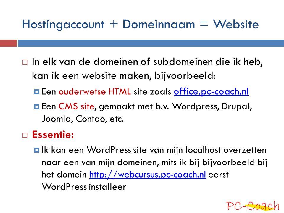 Hostingaccount + Domeinnaam = Website  In elk van de domeinen of subdomeinen die ik heb, kan ik een website maken, bijvoorbeeld:  Een ouderwetse HTM