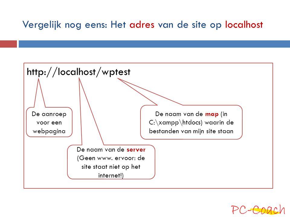 Vergelijk nog eens: Het adres van de site op localhost http://localhost/wptest De naam van de map (in C:\xampp\htdocs) waarin de bestanden van mijn si