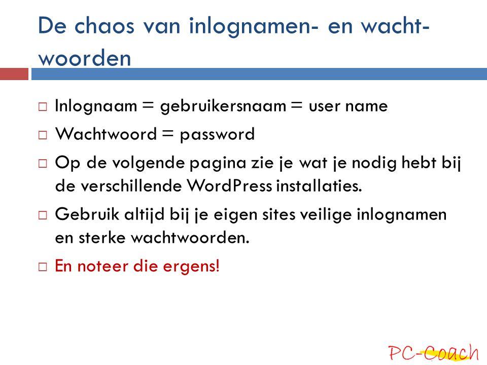 De chaos van inlognamen- en wacht- woorden  Inlognaam = gebruikersnaam = user name  Wachtwoord = password  Op de volgende pagina zie je wat je nodi