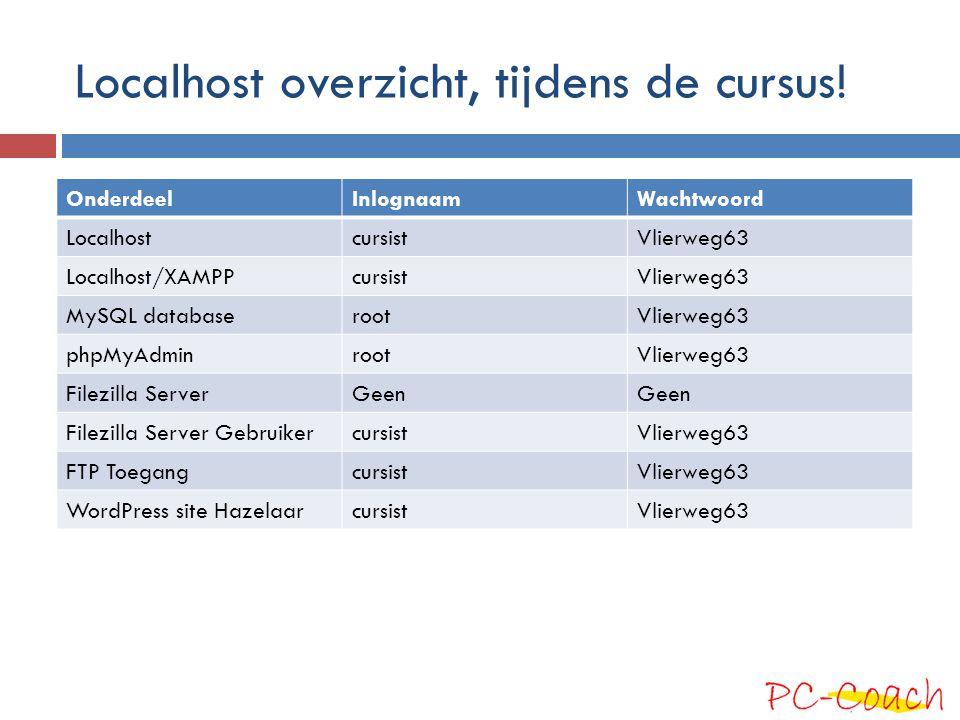 Localhost overzicht, tijdens de cursus! OnderdeelInlognaamWachtwoord LocalhostcursistVlierweg63 Localhost/XAMPPcursistVlierweg63 MySQL databaserootVli