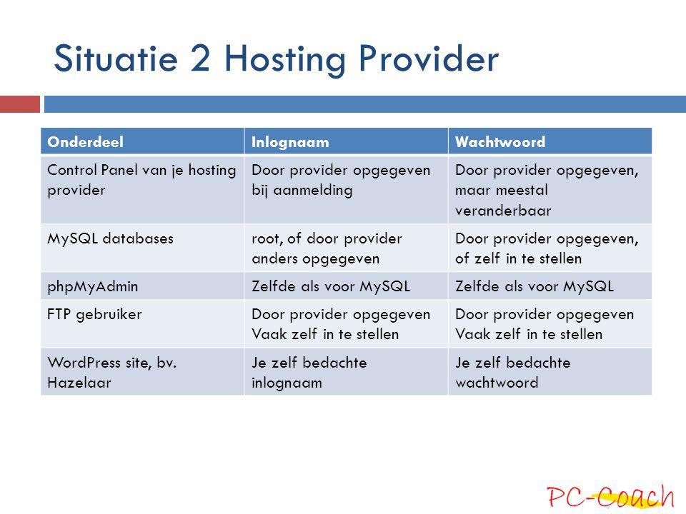 Situatie 2 Hosting Provider OnderdeelInlognaamWachtwoord Control Panel van je hosting provider Door provider opgegeven bij aanmelding Door provider op
