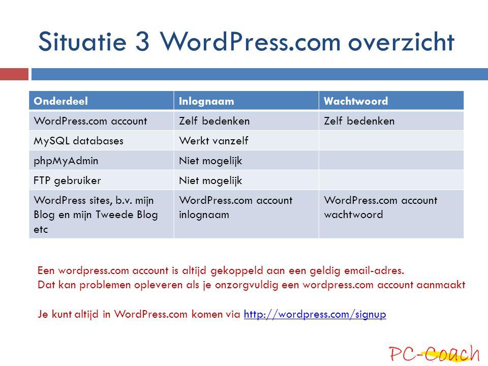 Situatie 3 WordPress.com overzicht OnderdeelInlognaamWachtwoord WordPress.com accountZelf bedenken MySQL databasesWerkt vanzelf phpMyAdminNiet mogelij