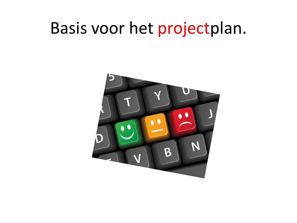 Basis voor het projectplan.
