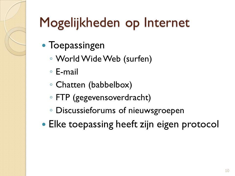 Mogelijkheden op Internet Toepassingen ◦ World Wide Web (surfen) ◦ E-mail ◦ Chatten (babbelbox) ◦ FTP (gegevensoverdracht) ◦ Discussieforums of nieuws