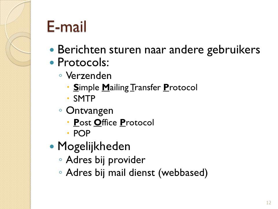 E-mail Berichten sturen naar andere gebruikers Protocols: ◦ Verzenden  Simple Mailing Transfer Protocol  SMTP ◦ Ontvangen  Post Office Protocol  P